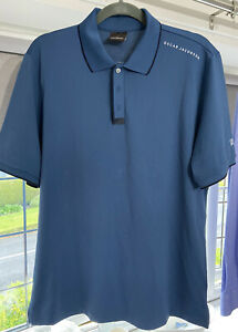 Oscar Jacobson Mens Golf Polo Shirt Large Blue Short Sleeve Top