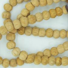 """Wood Beads Light Carved Round from India 8-10mm 1 string 16-18"""" Approx 100 beads"""