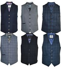 Mens Cavani Check Blue Grey Smart Formal Waistcoat Lapels Slim Fit