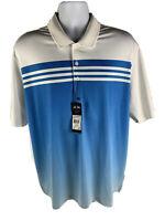 Adidas Climacool Performance Short Sleeve Polo Mens XL Blue White Striped