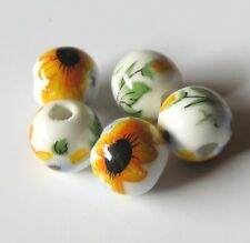 30pcs 8mm Round Porcelain/Ceramic Beads - White / Yellow Sunflowers