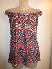 Sky Clothing Brand NWT L Top Off Shoulder Bright Coral Purple Tribal Printed