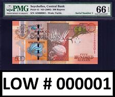 Seychelles 500 Rupees ND (2005) LOW Serial 000001 Pick-41 GEM UNC PMG 66 EPQ