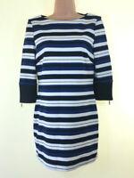 MARKS & SPENCER black white navy blue stripe jersey mini dress fits size 10