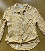 Womens Pink Rose Yellow Tan White Plaid Button Down Long Sleeve Shirt Size Small