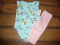 NEW NWT Carters girls size 6 months pretty blue/pink flower pant set