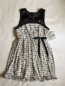 NWT Bonnie Jean Girls Polka Dot Ruffle Dress Sz 10 Black Sequin MSRP $70