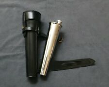 SADDLE HIP HUNTING STEEL FLASK BATON & THICK BRIDLE BLACK LEATHER CASE FREE P&P