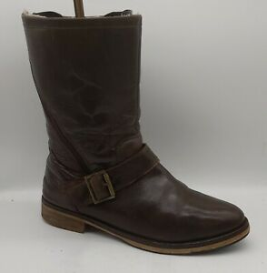 Men's 5TH AVENUE Size 8 UK Brown Leather Biker Style Boots Zip Fasten In V G U C