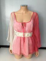 Tibi Womens Pink White Top Blouse Tie Die 100% Silk Size 6 Short Sleeve