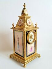 Exquisite Antique Royal Vienna Porcelain Gilt Bronze Clock Signed