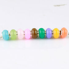 NEW 50PCS Mixed Jelly Silver MURANO BEAD LAMPWORK Fit European Charm Bracelet