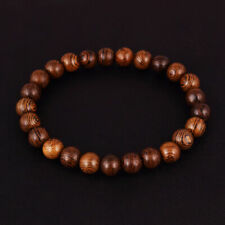 8mm Natural Wood Stripes Round Beaded Stretch Bracelet Fashion Jewelry Gift