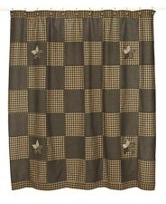 Country Primitive Farmhouse Star Shower Curtain Black, Tan 72x72 Cotton