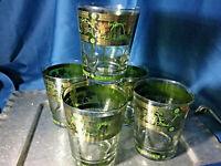 5 Mid Century Cera Retro Golden Grapes Green Gold Bar Glasses old fashioned