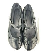 ECCO AQUET Mary Jane Size 39 Black Leather Womens Flat Career Work Comfort Shoes