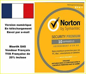 NORTON SECURITY 2021 PREMIUM 10 Appareils - 1 AN Licence envoyée par mail