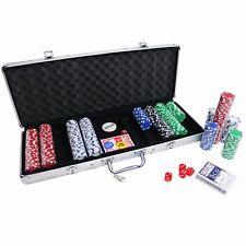 NEW! Poker Set - 500 Piece Texas Hold Em Chips Cards Dice Decks Casino Case