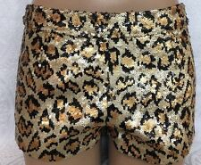Dam Love Animal Print Sequined Shorts Size S