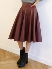Women's Trend Faux Leather A-Line Swing Flare Wine Red Mid Calf Skirt  -One Size