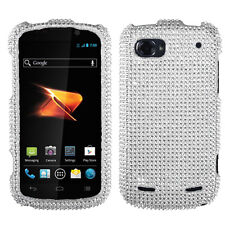 For ZTE Warp Sequent Crystal Diamond BLING Hard Case Phone Cover Silver
