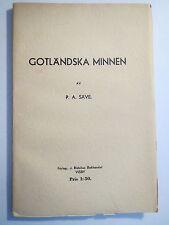 P. A. Säve - Gotländska Minnen - 1938 / Schweden - Gotland