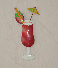 "13"" Metal Strawberry Daiquiri Tropical Drink Haitian Tiki Hanging Wall Art Decor"