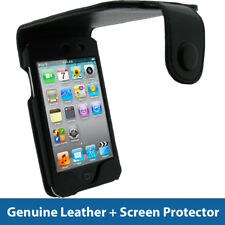 NERO Vera Pelle Custodia per Apple iPod Touch 4 ° Gen 4G iTouch Cover Titolare