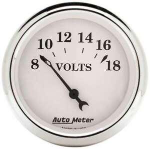 AUTO METER Old Tyme White 2 1/16in Voltmeter 8-18 P/N - 1692