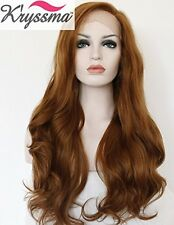 K'ryssma® Natural Looking Brown Wavy Wig Long Synthetic Hair Best Lace Front