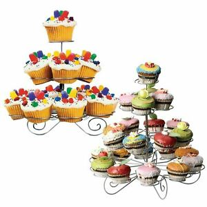 3/4 Tier Cupcake Stand Metal Wire Cup Cake Holder Display Stand Wedding Party UK