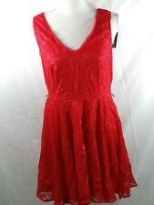 Express dress red mini double v neck sleeveless size 8 New