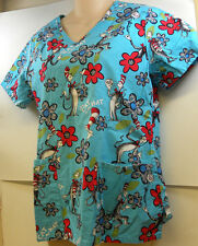 Dr Suess Cat In The Hat Blue Scrub Top Uniform XS Extra Small