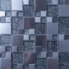1 SQ M Silver Glass & Brushed Steel Mosaic Tile 0150
