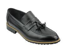 Mens Leather Lined Maroon Black Tassel Loafer Smart Casual Slip on Driving Shoes UK 8 EU 42 Black