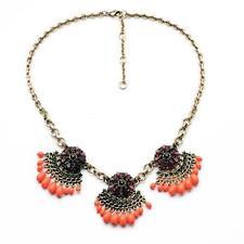 Collier Femme Tassel Beads Orange Violet Vintage Original Soirée Mariage JCR 3