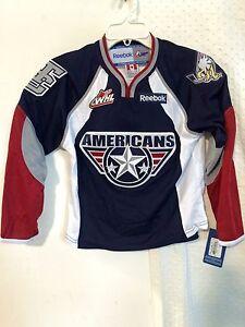Reebok AHL YOUTH Jersey TRI-CITY Americans Team Navy sz S/M