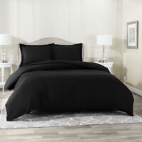 Duvet Cover Set Soft Brushed Comforter Cover W/Pillow Sham, Black - Queen