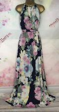 MONSOON HALTER FULL LENGTH MAXI blue/green/pink FLORAL DRESS Size 14-16