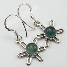Genuine CABOCHON APATITE Gems Jewelry, 925 Solid Silver CHARMING Earrings 3.0 CM