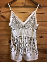 Free People Beaded Long Tank Top Size M White Copper/Brass Beading Boho Womens