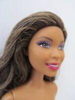 Barbie African American AA Nikki Barbie Doll Long Brown Hair Blonde Highlights