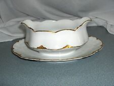 Vintage Royal Austria O & E G China Gold Trim Gravy With Under Plate AUS89A NICE