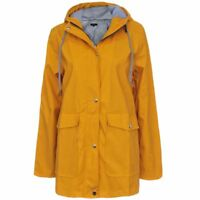 Womens Ladies PU Coated Jacket Mac Shower Anorak Hooded Coats Festival Rain Coat