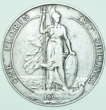More details for rare 1905 key date edward vii florin, british silver coin avf