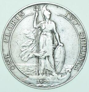 RARE 1905 KEY DATE EDWARD VII FLORIN, BRITISH SILVER COIN aVF