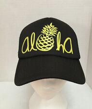 b57c68c41dae2 Aloha Trucker Hat Cap Hawaiian Headwear Adjustable Snapback Black