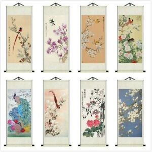 Asian Silk Scrolls Wall Picture Calligraphy Hanging Artwork Feng Shui Decor