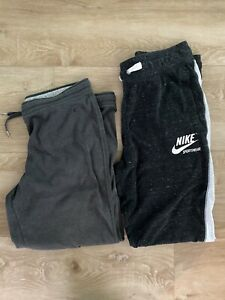 Lot of 2 Nike Women's Heather Charcoal Gray Gym Draw String Jogger Sweat Pants