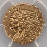 1911-D Indian Head 1C PCGS Certified AU58 Strong D Denver Mint Gold Coin